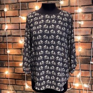 Pixley Black & White Elephant Blouse Silky Medium